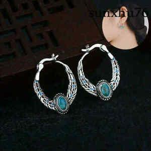 Vintage Women Boho Tibetan 925 Silver Turquoise Dangle Drop Hook Earring Jewelry