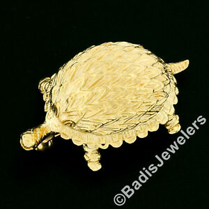 Vintage Petite 14k Yellow Gold Highly Detailed Textured Turtle Brooch Pin 6.59g