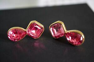 Swarovski S.A.L. Earrings Clear Pink Crystal Teardrop Gold Tone Pierced