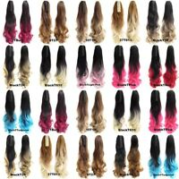 Synthetic Claw Wavy Ombre Ponytail Long Curly Two Tone Pony Tail Hair Extensions
