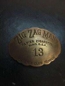 Zig Zag Epaulette Pin Solid Metal Brass Patina Tobacco Cigarettes Cigar Man Cave