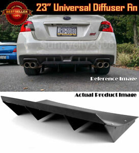 """23"""" x 9"""" ABS Black Universal Rear Bumper 4 Fins Curved Diffuser Fin For Chevy"""