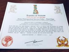 Vietnam ~ Army Distinguished Service Order Certificate ~ With Free Printing