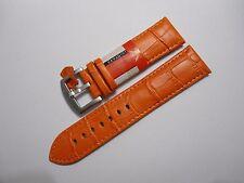Uhrenarmband Echt Leder Uhrband Armband Kroko Prägung Watch Band orange 26 mm