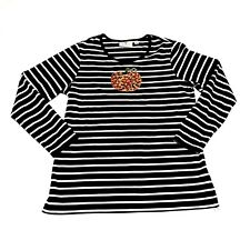 Quacker Factory Top Sz S Long Sleeve Sequin Pumpkin Striped Black White Shirt