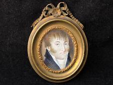 Miniature Empire Portrait d'Homme Peinture Antique French Painting Encadrée