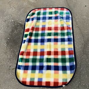 Vintage Geoffrey Baby Blanket 1995 Dark Checkered Plaid Koala 44.5 -28.5 Inches