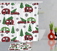 Country Style Christmas Plaid Red Truck and Camper Fabric Shower Curtain Set 72""