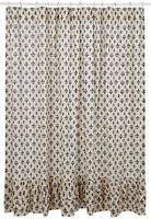 Shower Curtain Elysee French Country 100% Cotton Fleur-de-lis 5 Layered Ruffles