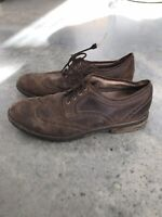Clarks Brown Leather Mens Wingtip Wing Tip Lace Up Dress Shoes B SZ 14M 14 M