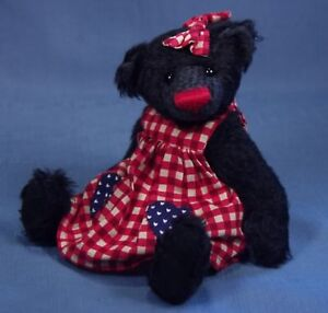 """DEB CANHAM  """"CISSIE"""" BIGGER BEARS COLLECTION  7 1/2"""" BLACK MOHAIR BEAR IN RED"""