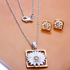 Solid Silver Jewelry Square Yellow Daisy Flower Women Necklace Earrings Set S127