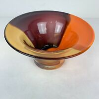 Art Glass Hand Blown Purple Orange Amber Artisan Centerpiece Bowl Vase Compote