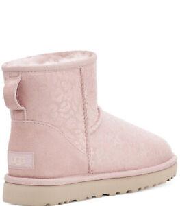 $160+ NWT + Box UGG Australia Women's 8 Classic Mini Snow Leopard Pink Boots