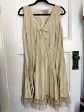 MISS HARTNELL OF MELBOURNE VINTAGE Gold Pleated Shift Dress Lace Trim