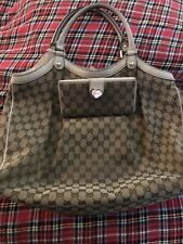 Gucci Bag And Wallet Huge Sukey 100% Authentic Cream Leather & Monogram GG
