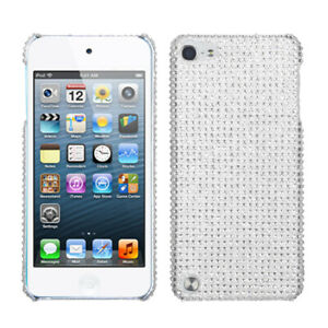 for iPod Touch 5th / 6th / 7th Gen - SILVER Hard Diamond Bling Gem Case Cover