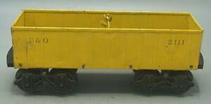 VERY RARE GAUGE 2 VOLTAMP 2111 YELLOW GRAVEL CAR WITH CAST IRON TRUCKS/WHEELS