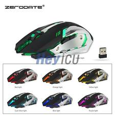 Rechargeable 7 LED Backlit Wireless USB Optical Gaming Mouse Mice 2.4G Fr Mac PC