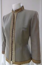 ALEXANDER McQUEEN OLIVE GOLD TRIM PRESS BUTTON BLAZER JACKET 46 ITALY