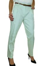 Ice Chino Pleated Tapered Cigarette Leg Trousers Belt 8-22 MINT Green 14