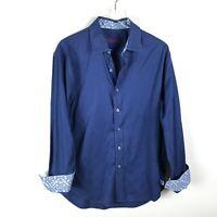 Robert Graham Paisley Button Down Shirt Size L Blue Long Sleeve Contrast Cuff