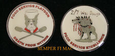 FOOD SERVICE 2/7 2nd Battalion 7th MARINES US MARINE CHALLENGE COIN MOS 3381