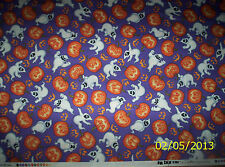 new  Halloween Purple Ghost & Pumpkin Toss 100% cotton fabric by the 1/2 yard