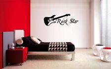 "GUITAR ROCK STAR  DECAL WALL VINYL DECOR STICKER BEDROOM MUSIC KIDS CHILDREN 36"""