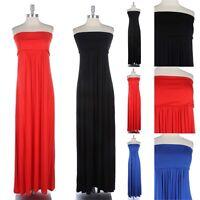 Women's Plus Size- Strapless Solid Tube Long Maxi Dress Fold over Full Length