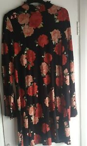 Florence And Fred Size 14 Black Skater Style Dress With Red Floral Design.