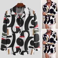 Mode Hommes Chemises T-shirt décontractées à manches longues imprimé Fête hauts