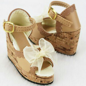 1/3 BJD Shoes Bow Deco Thick Sole Wedges Sandals High Heels for SD Dollfie Doll