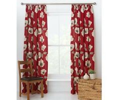 "Poppy Red Pencil Pleat Curtains 168x229cm 66x90"" 100% Cotton Unlined"