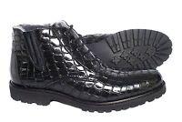 Giovanni Conti 3612-01 Italian black print crocodile leather ankle boots w/ lace