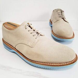 Walk-Over Derby Shoes Tan Suede Leather Mens Oxfords Size 8.5 M Blue Vibram Sole