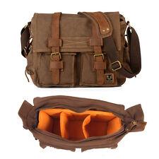 Men Women Canvas DSLR Camera Shoulder Bag Padded Insert Daypack Messenger Bag
