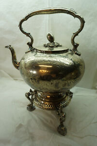 ANTIQUE SILVERPLATE TEAPOT AND WARMING STAND JAMES DIXON SHEFFIELD IMPERFECT
