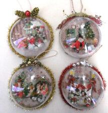 CHRISTMAS GLOBE ORNAMENT handcrafted Santa w/Manger snowman Gnomes Toys OOAK