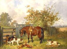 19th CENTURY Inglese Cavallo cani Setter dopo la caccia Paesaggio dipinto ad olio