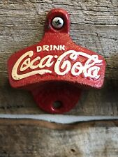 Coca Cola Bottle Opener Red Cast Iron Repro