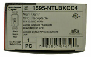 1595-NTLBKCC4 15A GFCI Safety Outlet with LED Nightlight Grounding, Black PS