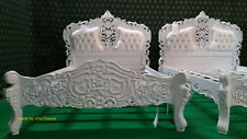 "Solid White 4'6"" King  Size oriental carved mahogany designer French Rococo bed"