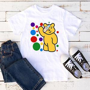 Spotty Pudsey Bear Kids T Shirt Children In Need Charity Dotty Spot Mens Tee Top