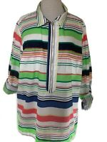 Tommy Hilfiger Womens Shirt Cotton White & Coloured Stripes UK 20-22 3/4 Sleeves