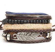 Men's Multi-layer Alloy Feather Wood Bead Braided Rope Bracelets Fashion Jewelry