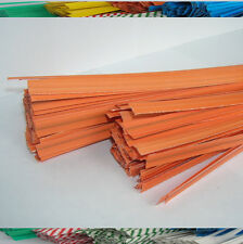"100pcs Plastic/Paper coated ORANGE 4"" x 1/4"" Twist Ties - won't rip or pull off"