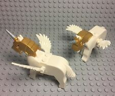 Lego X2 New MOC Unicorn White Horse / Pegasus With Feather Wing,gold Helmet