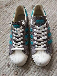 Adidas Superstar grey/blue Snakeskin Trainers Size 8