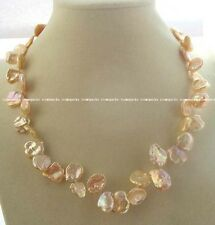 """freshwater pearl reborn keshi pink baroque 12-18mm necklace 18"""" nature"""